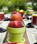 Seasonal fruit piled